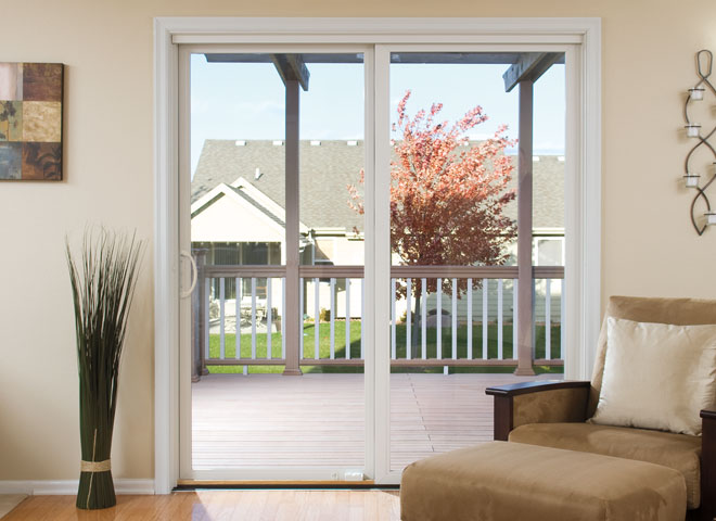 pella impervia sliding door white trim no grilles